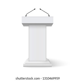 Tribune podium rostrum speech stand. Conference stage with microphone, press or debate speaker isolated orator pulpit.