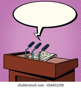 Tribune of the speaker, microphones and text to speech pop art retro vector illustration
