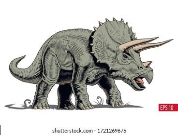 Triceraptops dinosaur isolated, comic style vector illustration