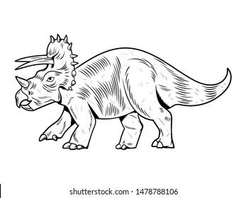 Triceratops big dangerous dino dinosaur. Cartoon character illustration drawing engraving ink line art vector. Isolated white background for print design t shirt clothes sticker poster badge.