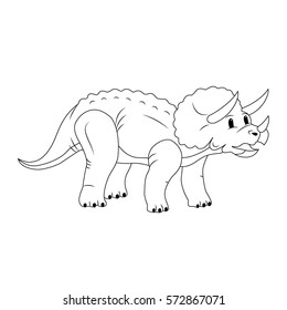 Triceratops. Cartoon dinosaurs. The contour drawing. Vector illustration.