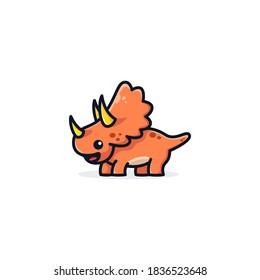 triceratops cartoon mascot logo design