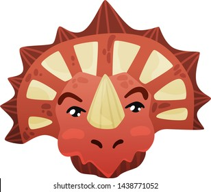 Triceratops dinosaur face looks cute in cartoon style red color big cute eyes, styracosaurus on an isolated white background
