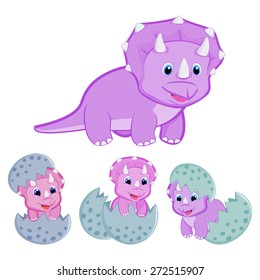 Triceratops dinosaur family vector illustration Happy family Animal family Mother triceratops and baby hatching from egg Cute baby triceratops cartoon dinosaur vector EPS8 great for kids t shirt stamp