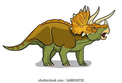 Triceratops dinosaur vector illustration in cartoon style.