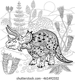Triceratops - prehistoric reptile in nature. Antistress Coloring Book for adults.