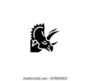Triceratops vector isolated flat illustration. Triceratops icon