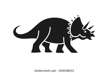 Triceratops vector silhouette. Cute dinosaur black silhouette isolated on white background.