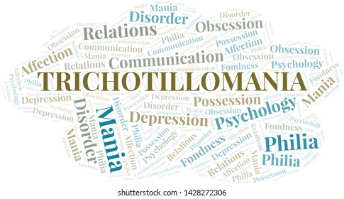 Trichotillomania word cloud. Type of mania, made with text only.