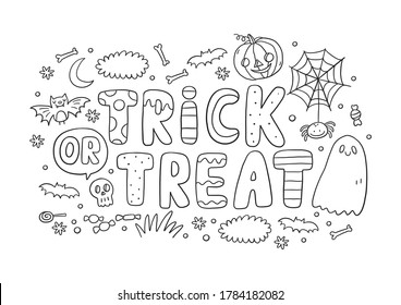 Trick or Treat coloring page. Halloween coloring page for kids. Cartoon children in Halloween costumes. Cute children, witch, dracula, pumpkin, bat, zombie, mummy, cat