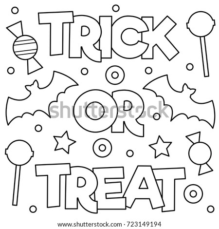 trick or treat coloring pages Trick Treat Coloring Page Vector Illustration Stock Vector  trick or treat coloring pages