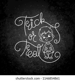 Trick or treat. Cutest kid in haloween blouse. Illustration isolated on white background. Design element for print, t-shirt, poster, card, banner. Vector illustration. Chalk on a blackboard