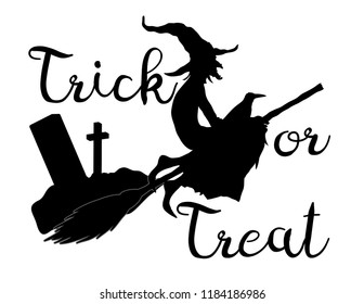 Trick or treat halloween background with flying witc