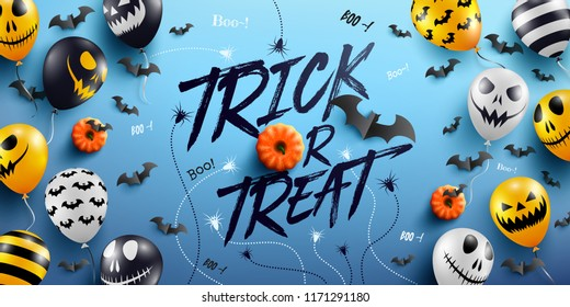 """Trick or Treat"" Halloween Background with Halloween Ghost Balloons.Scary air balloons.Website spooky,Background or banner Halloween template.Vector illustration EPS10"