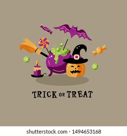 Trick or treat. Halloween card with celebratory subjects. Flat style vector illustration. Great for party invitation, flyer, greeting card, web, postcard.