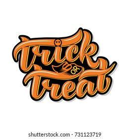 Trick or treat. Halloween. Isolated on a white background. Lettering composition, great for holiday gift card. Vector illustration