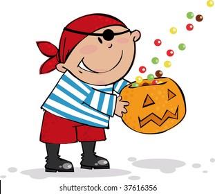 Trick or Treat. Halloween pirate boy.
