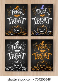 Trick or Treat Halloween postcard chalked designs collection with lettering, pumpkin and candies on wood background.