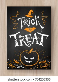 Trick or Treat Halloween postcard color chalked design with lettering, pumpkin and candies on wood background.