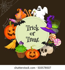 Trick or treat . Halloween poster background card. Retro cartoon style vector illustration.
