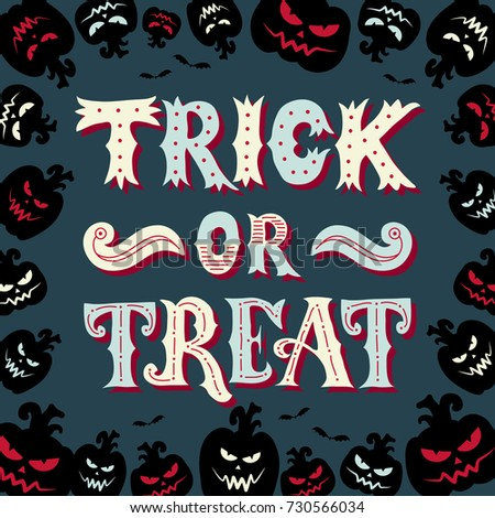 trick treat halloween poster hand lettering stock vector royalty