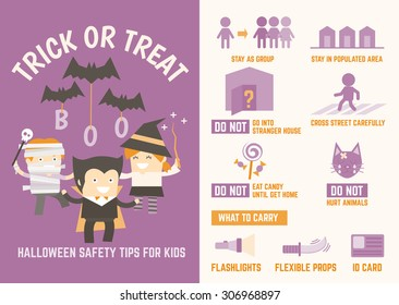 trick or treat halloween safety tips infographic for kids