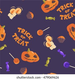 Trick or treat. Halloween seamless pattern. Vector hand drawn illustration with pumpkins, candles and sweets
