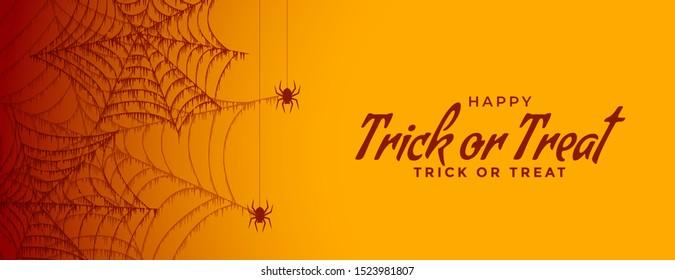 trick or treat halloween spiderweb banner design