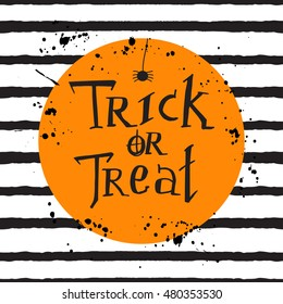 """""""Trick or treat"""". Halloween template with stripes and lettering"""