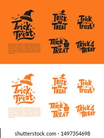 Trick or treat Halloween text set for greeting, invitation, poster, banner, background and celebration