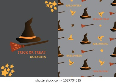 trick or treat halloween with witch's hat and broom card and seamless pattern