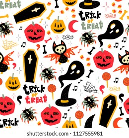 Trick or treat. Hand drawn Halloween symbols. Colored vector seamless pattern