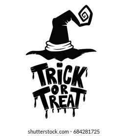 Trick or Treat. Hand drawn lettering phrase with witch hat on white background. Halloween theme. Vector illustration