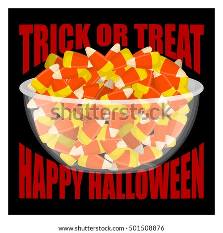 f5328423bc0 Trick Treat Happy Halloween Bowl Candy Stock Vector (Royalty Free ...