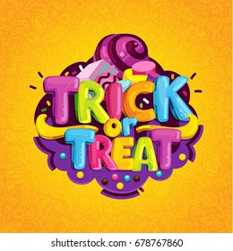 Trick or treat. Happy halloween candy cartoon logo on an orange background.