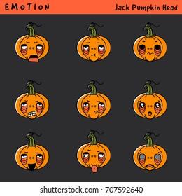 Trick or Treat with Jack Pumpkin Head emoji for web design. Vector set emotion.