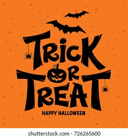 Trick or Treat lettering design on orange background