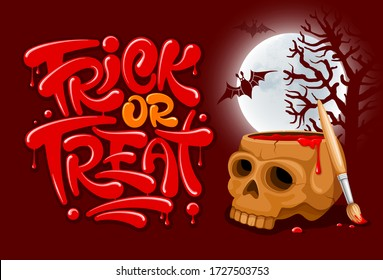 Trick or Treat lettering for Halloween celebration. Unusual inscription, drawn by blood or red paint out of skull. Full moon and bat silhouettes on background. Vector illustration.