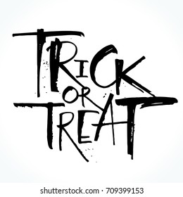 Trick or treat lettering for Halloween. Handwritten modern calligraphy, brush painted letters. Vector illustration. Template for banners, posters, flyers, greeting cards or photo overlays.