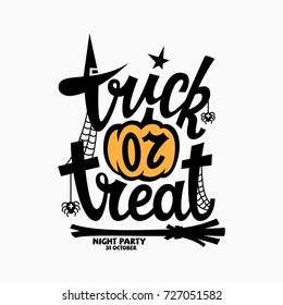 Trick or treat lettering with a pumpkin for halloween party invitation, poster, banner, card. Vector illustration.