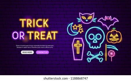 Trick or Treat Neon Banner Design. Vector Illustration of Halloween Promotion.
