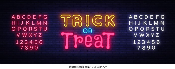 Trick or Treat neon text vector design template. Trick or Treat neon logo, light banner design element colorful modern design trend, night advertising, bright sign. Vector. Editing text neon sign