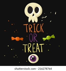 Trick or treat postcard with skull, eyeball and candies