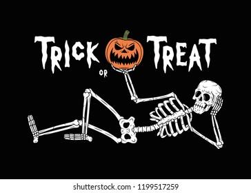 TRICK OR TREAT RESTING SKELETON WITH PUMPKIN JACK-O-LANTERN 1 BLACK BACKGROUND