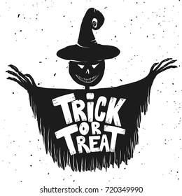 Trick or treat.  Scarecrow illustration on white background. Design element for poster, card, banner. Vector illustration