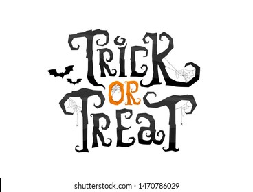 Trick or Treat scary calligraphy letters in cobweb. Vector Illustration isolated on white background for Halloween day.