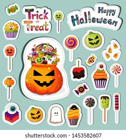 Trick or treat stickers collection. Halloween sweets sticker set. Treat bowl with traditional halloween desserts icons pack. Hand drawn treats elements, decoration template. Halloween food icons  .