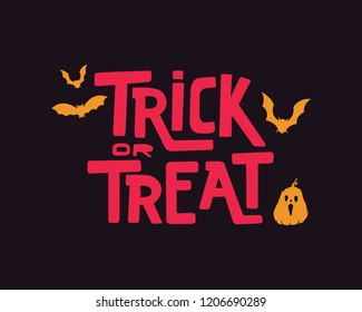 trick or treat. trick or treat typography. trick or treat vector text. hand lettering. creative calligraphy and lettering. trick or treat font