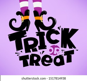 Trick or treat vector lettering inscription