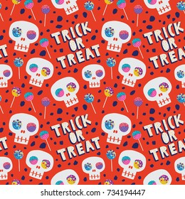 Trick or treat. Vector seamless pattern with skull and sweets on the orange background